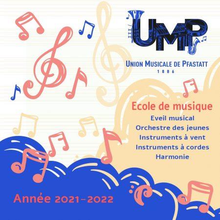 pochette de la plaquette de présentation avec des notes de musiques colorées